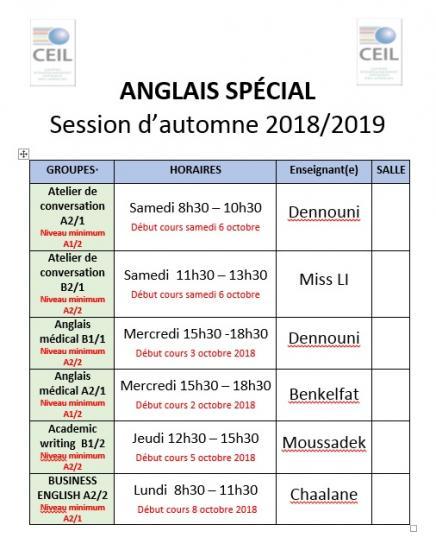 Anglais special sept 2019