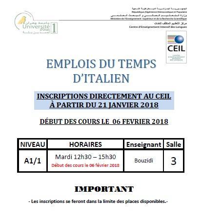 Emploi du temps d italien printemps 2017 2018