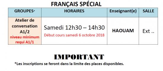 Français spécial automne 2018 2019