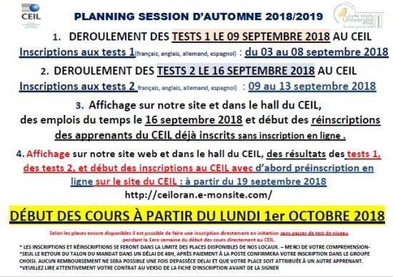 Planning ceil automne 2018 2019