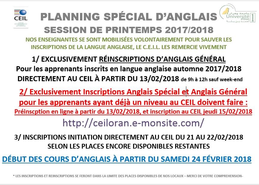 Planning special anglais printemps 2017 2018